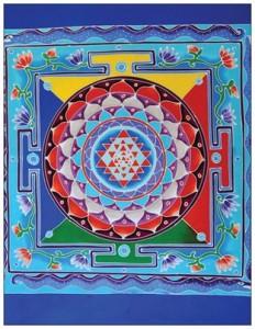 batik sri yantra bleu